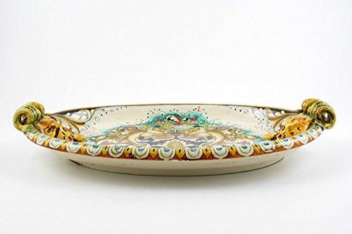 Handpainted Italian Ceramic 19-inch Centerpiece by A. Binaglia, Deruta by Alvaro Binaglia