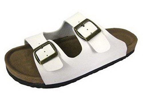 Sandalias Clásicas para mujer con dos correas. Blanco - blanco