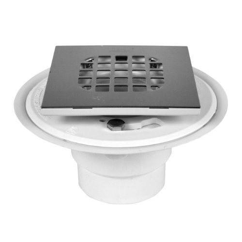 Oatey 42398 PVC Shower Drain with Square Rubbed Bronze Snap-Tite Strainer (2 Inch Threaded Bronze)