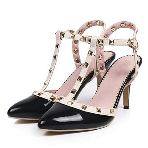 Basic Women's ZHZNVX Summer Microfiber Beige Black Heels Pump Black Blue Heel Stiletto qtw6wd