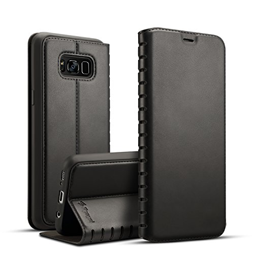 Spaysi Samsung Galaxy S8 Plus Folio Flip Case Magnetic Closure S8 Plus Leather Case Slim S8 Plus Wallet Case Wireless Charging Book Style Kickstand Credit Card Slot Holder TPU Full Protection (Black) by Spaysi