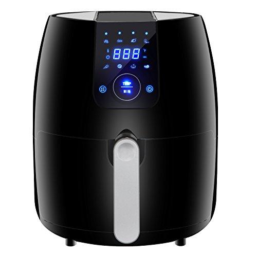 SUPER DEAL PRO 8-in-1 Electric Air Fryer 3.7 Quart Programmable Digital Touchscreen w Recipe Book, Dishwasher Safe Parts, Temperature Control, Auto Shut off Timer Classic Black