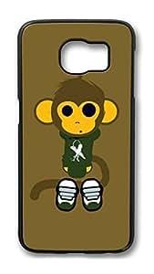 Brian114 Case, S6 Case, Samsung Galaxy S6 Case Cover, Cute Monkey Retro Protective Hard PC Back Case for S6 ( Black )