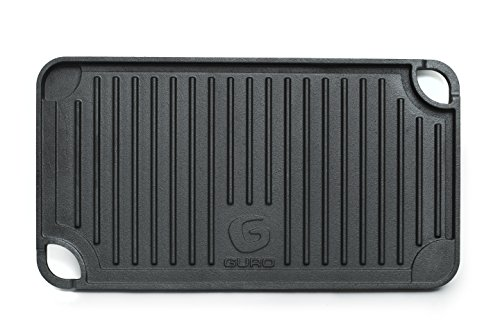 GURO Cast Iron Pre-Seasoned Double Play Grill/Griddle, Two