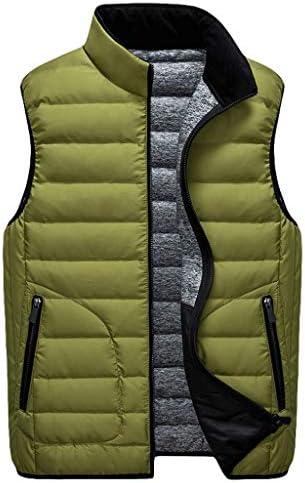 QIQIDEDIAN 釣りベスト ベスト秋と冬のレジャースタンド襟ダウンジャケット男性スリムフィット薄型ダウンベスト男性ベスト (Color : Green, Size : XL)
