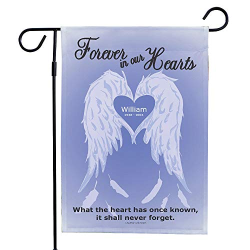 """GiftsForYouNow Personalized Forever in Our Hearts Double Sided Lawn Flag, 12 1/2"""" w x 18"""" h, Polyester"""