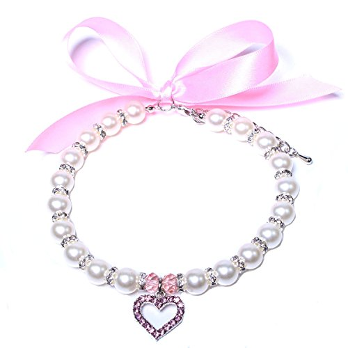 Dog Pet Pearls Necklace Collar Beling Accessories Ribbon Love Charm Pendant Pet Puppy Jewelry For Female Puppy Chihuahua Yorkie Adjustable Handmade (S, - Yorkie Jewelry