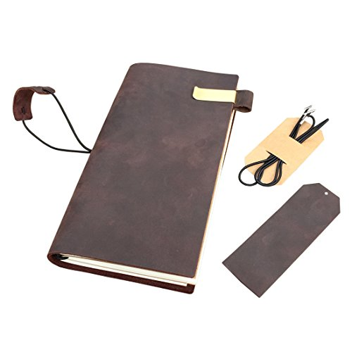 Rustic Leather Journal - Refillable Travelers Notebook with Pen Holder & Bookmark, Standard Size Fountain Pen Friendly Lined Blank Grid Paper to Write In, Great Gift for Creative Men and Women