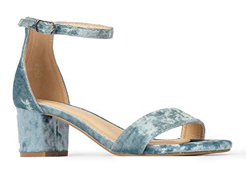 J. Adams Daisy Mid Heel Sandal Blue Velvet 9 B(M) US
