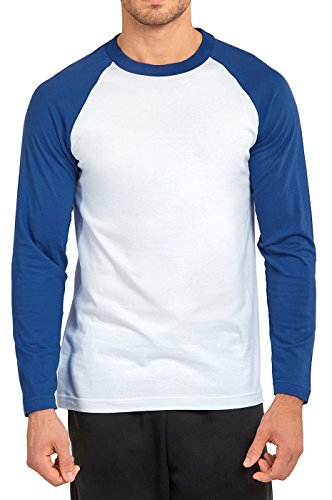(DailyWear Mens Casual Long Sleeve Plain Baseball Cotton T Shirts (Royal Blue/White, Small))