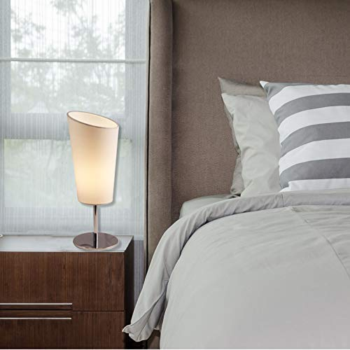 Light Accents Bedroom Side Table Modern Chrome Accent Lamp with White Shade Nightstand Lamps Small End Table Lamp (Set of 2) by LIGHTACCENTS (Image #5)