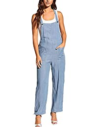 Bib Overalls Denim Jumpsuits Front Pocket Rompers Strappy Pants for Women Casual