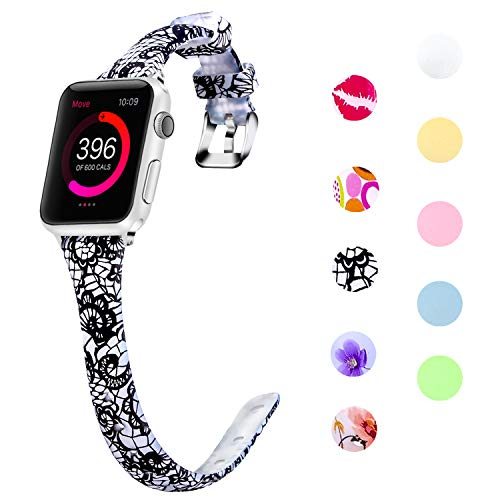 (Lwsengme Slim Rubber Band Compatible with Apple Watch 38mm 40mm 42mm 44mm, Women Silicone Thin Strap for iWatch Series4/3/2/1,Sport/Edition)