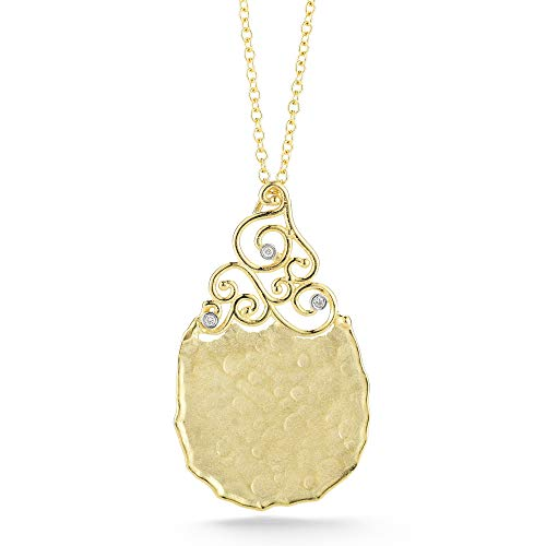 I REISS 14K Yellow Gold 0.022ct TDW Diamond Accent Tear-Drop Dangling Pendant Necklace
