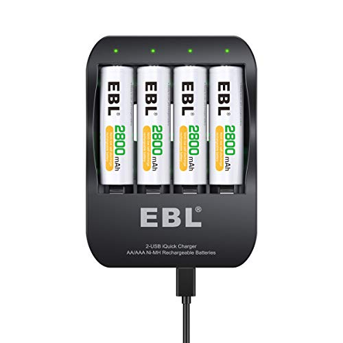 EBL Smart Batttery Charger 2-Hour iQuick Tecnology Two USB-Input Ports AA Rechargeable Batteries 2800mAh, 4 Counts (Batteries Included)