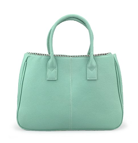 Hoxis Classical Office Lady Minimalist Pebbled Faux Leather Handbag Tote/Magnetic Snap Purse(Mint)
