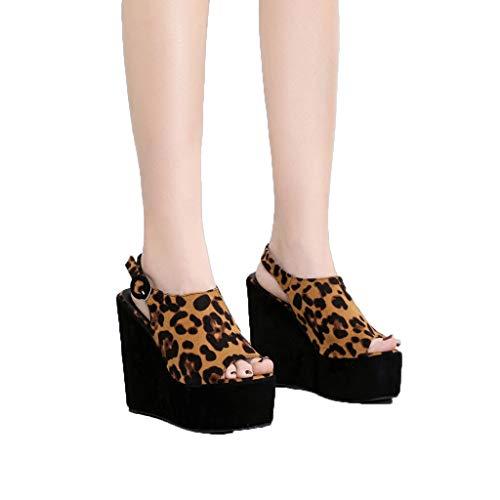 (♖Loosebee♜ Leopard Wedge Heel Sandals, Womens Platform Wedge Heel Peep Toe Ankle Strap Slingback Suede Sandals Black)