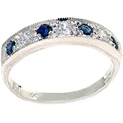 14k White Gold Natural Diamond and Sapphire Womens Band Ring (0.18 cttw, H-I Color, I2-I3 Clarity)