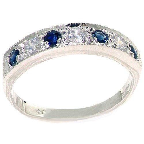 Diamond 14k Gold Estate Ring (14k White Gold Natural Diamond and Sapphire Womens Band Ring (0.18 cttw, H-I Color, I2-I3 Clarity))