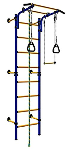 Price comparison product image Wall Mounted Kids Indoor Playground / Training Gym Sport Set with Trapeze Bar Swing, Climber, Climbing Rope, Jump Rope, Gymnastic Rings / Suit for Backyard, School and Playroom/ Comet Next 1 (Blue)