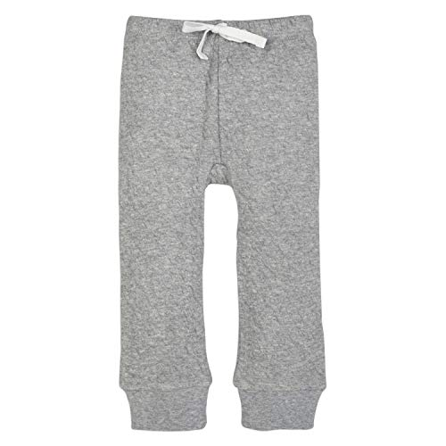 Burt's Bees Baby Baby Sweatpants, Knit Jogger Pants, 100% Organic Cotton, Quilted Heather Grey, 12 Months
