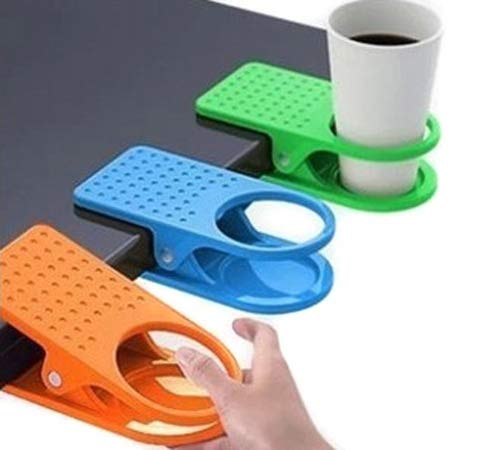 3 Pack Colorful Desk Cup Holder Clip Lap Portable Table Folder Table Manager Clip Coffee Drink Water Mug Stand with Strong Hold Random Color Holders for Home and Office