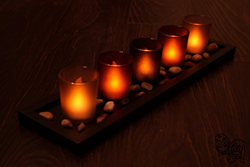 (Complete Set of Designer's Flameless LED Votive Candles with Cups, Tray and Rocks (5))