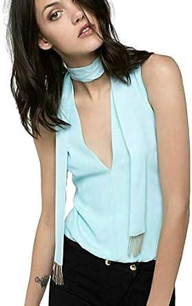 PATRIZIA PEPE Camisa de mujer Body con cuello en V Top azul claro: Amazon.es: Ropa y accesorios