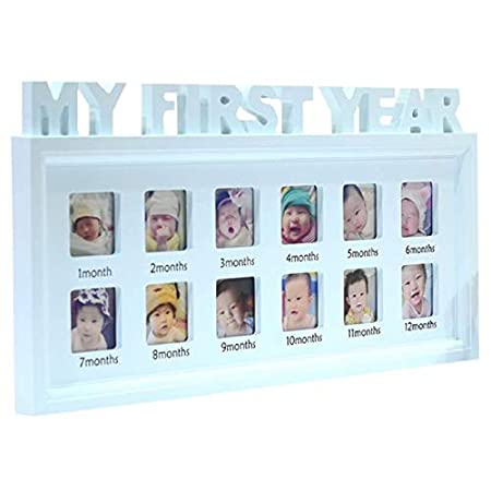 Blue SODIAL DIY 0-12 Month Baby Pictures Souvenirs Commemorate Kids Growing Memory Gift Display Plastic Photo Frame