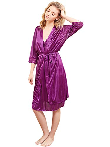 42b7393ec87 SweatyRocks Women s Sexy Pajamas Floral Sleepwear 2 Piece Set Short Sleeve  Robe and Nightgown Set