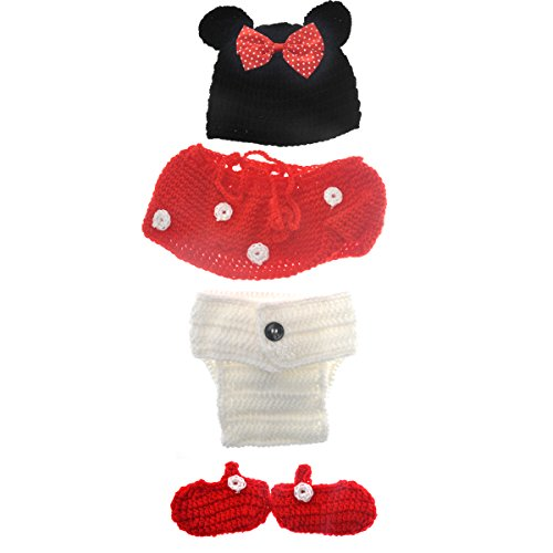 Tinksky Photography Prop Baby Infant Costume Set Cute Cartoon Mouse Style Newborn Hand Knitted (Hand Knitted Hat)