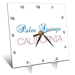 3dRose Alexis Design - American Cities California - Palm Springs, California. Red, Blue Text. Patriot Home Town Gift - 6x6 Desk Clock (dc_320903_1)