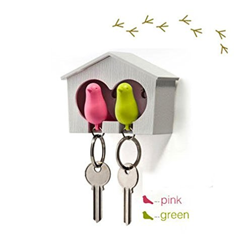 Novelty Sparrow Birdhouse KeyChain Key Ring Holder Hook Whistle for Couple Home Living Room Decorative by TheBigThumb -