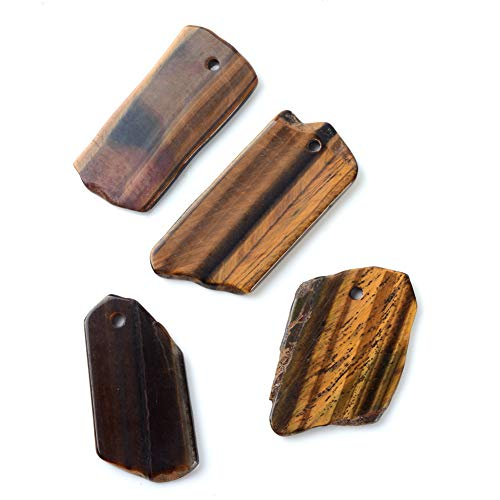 PH PandaHall 10 Pieces Natural Tiger Eye Gemstone Pendants Irregular Loose Stone Charms for Jewelry Making, Assorted Style