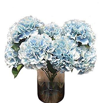SODIAL(R) Artificial Hydrangea Flower 5 Big Heads Bouquet (Diameter 7 each head) Blue