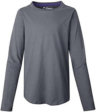 Hanes K249 Girls Shirttail Long-Sleeve Crewneck T-Shirt