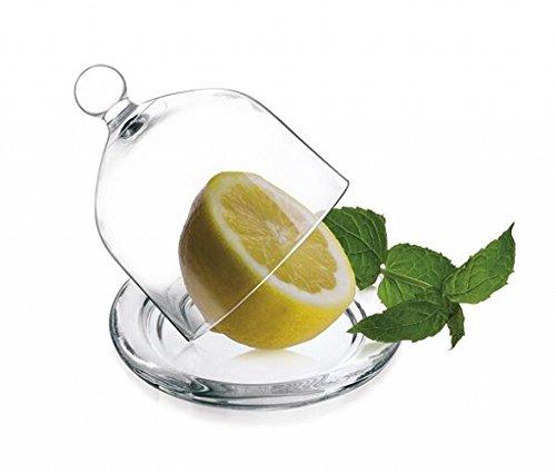 Glashaube Glasglocke mit Teller 6 Varianten Ø9,5cm Zitronenglocke Glasdom (Klar)