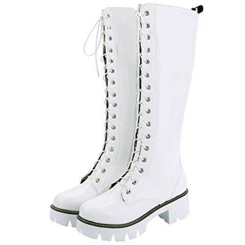 Aiyoumei Womens Zijrits Blok Hak Platform Herfst Winter Laarzen Met Schoenveter Wit