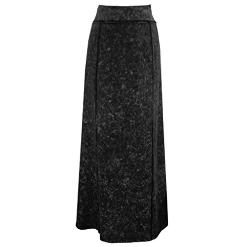 Baby'O Women's Stretch Knit Acid Wash Panel Maxi A-Line Skirt, BLK, Small