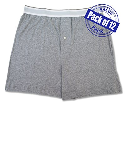 Gray Cotton Boxer Shorts - Men's 12 Pack Cotton Boxer Sleep Shorts Super Value Pack (MEDIUM (32-34), 12 Pack- Heather Gray)