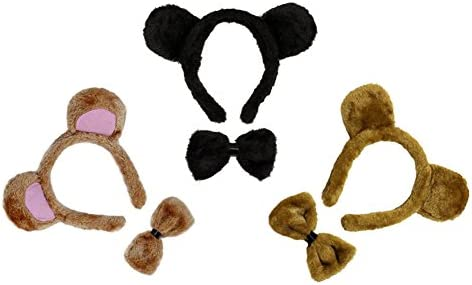 SOUND KIDS ADULT COSTUME ACCESSORY BEAR SET NATIVITY EARS NOSE TAIL BOW