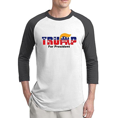 (Candi Men's Presidential Candidate Trum 3/4-Sleeve Raglan Tshirt Vintage Casual Black Size L)