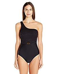 Ellen Tracy womens Lacy Lady One Shoulder Lace One Piece Swimsuit