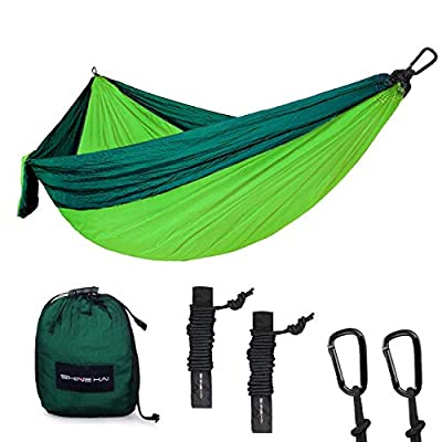 portable lightweight parachute nylon garden hammock two persons bed for backpacking camping travel beach yard bluegreen by shine hai