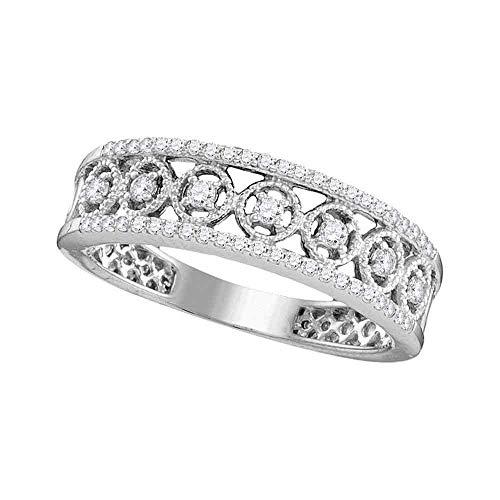 10kt White Gold Filigree Band - FB Jewels 10kt White Gold Womens Round Diamond Filigree Symmetrical Band Ring 1/3 Cttw (I1-I2 clarity; H-I color)