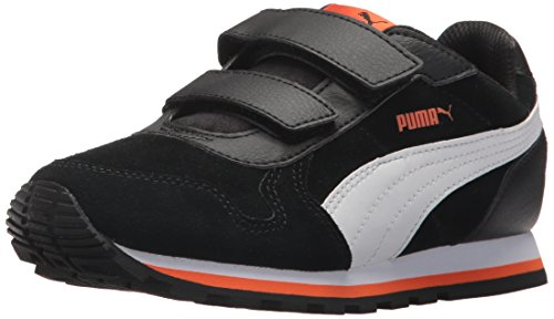 PUMA Unisex-Kids ST Runner SD Velcro Sneaker, Black White, 1 M US Little Kid by PUMA