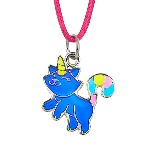 Fun Jewels Fairy Tale Cute Caticorn Unicorn Cat Color Change Mood Necklace for Girls