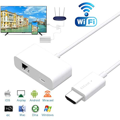 Wireless Display Dongle 1080P HD HDMI Wireless Display Receiver with Ethernet Port for Stronger Signal, Support Mac/Windows/iPhone/Android/iPad/Tablet to TV/Monitor/Projector [New 2019] Miracast Dong