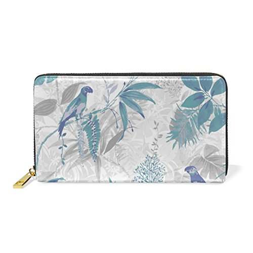Zip Leaf And Tropic Handbags Blue Wallet Womens Clutch Leather Around Bird TIZORAX Purses Organizer qFgxRpwRP