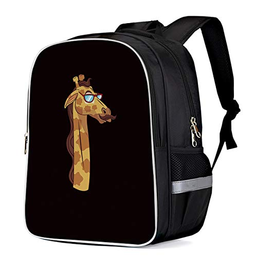 Cool 3D Giraffe with Sunglasses at Black Background Children School Book Bag Kids Printing Backpacks ()